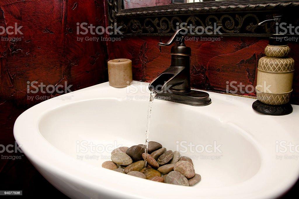 Bathroom Sink With Water Running Over Rocks Stock Photo More - Rocks in bathroom sink