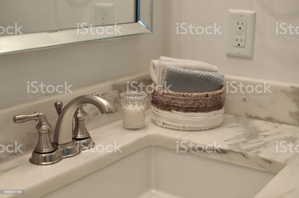 Bathroom sink with white marble stock photo