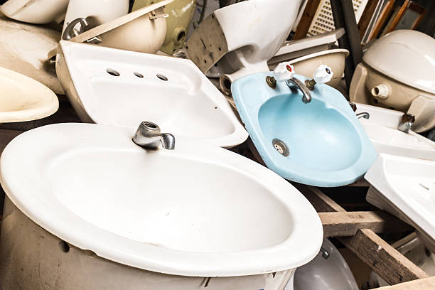 Bathroom sinks stock photo