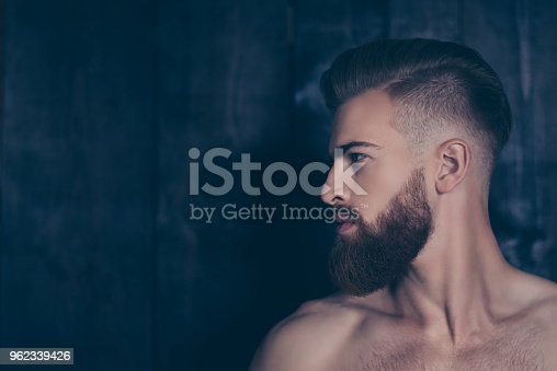698023272 istock photo Bathroom spa treatment therapy cosmetology problem concept. Half-faced portrait of attractive brutal macho masculine muscular healthy serious focused man isolated on wooden planks background copyspace 962339426
