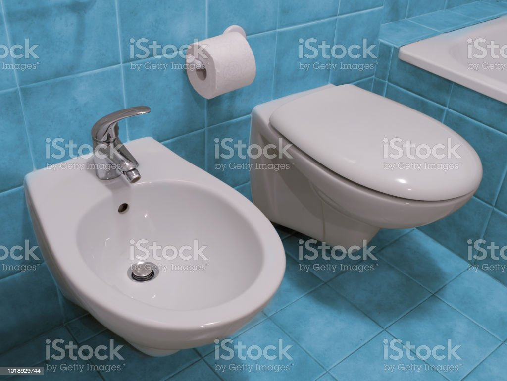 Bathroom toilet and bidet stock photo
