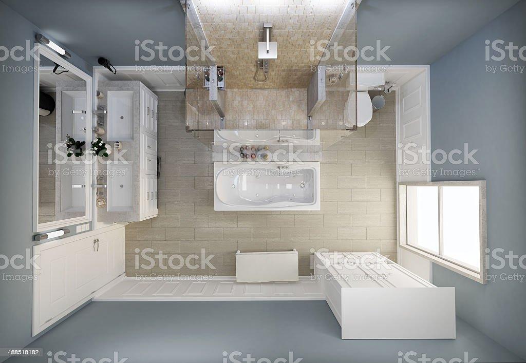 Bathroom top view stock photo
