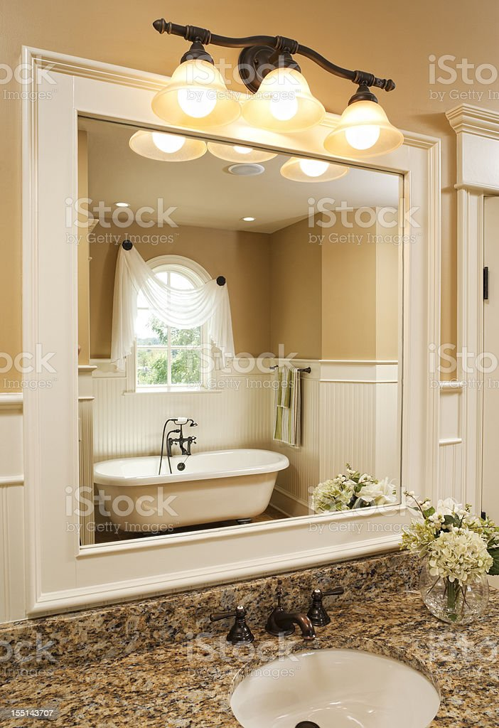 Bathroom vanity and clawfoot tub. royalty-free stock photo