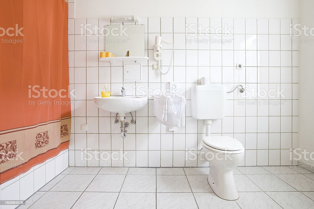 Bathroom, White Tiles stock photo