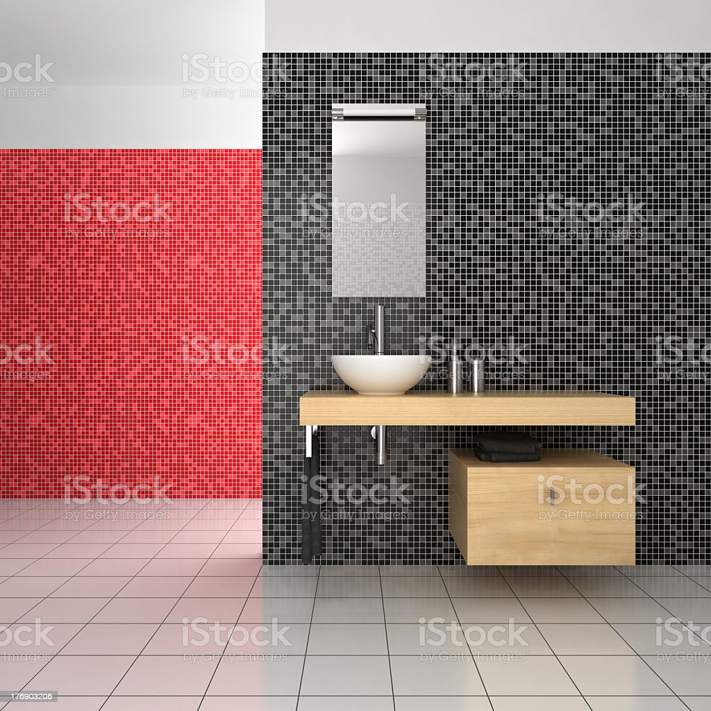 Salle De Bain Rouge Et Blanc photo libre de droit de salle de bains moderne avec des