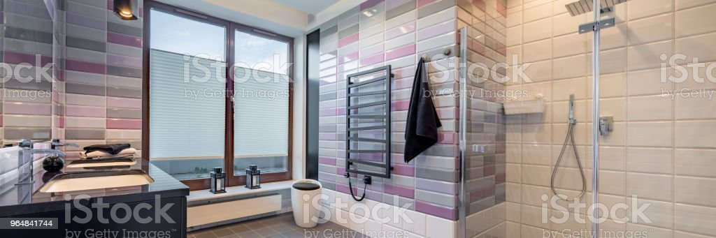 Bathroom with brick tiles royalty-free stock photo