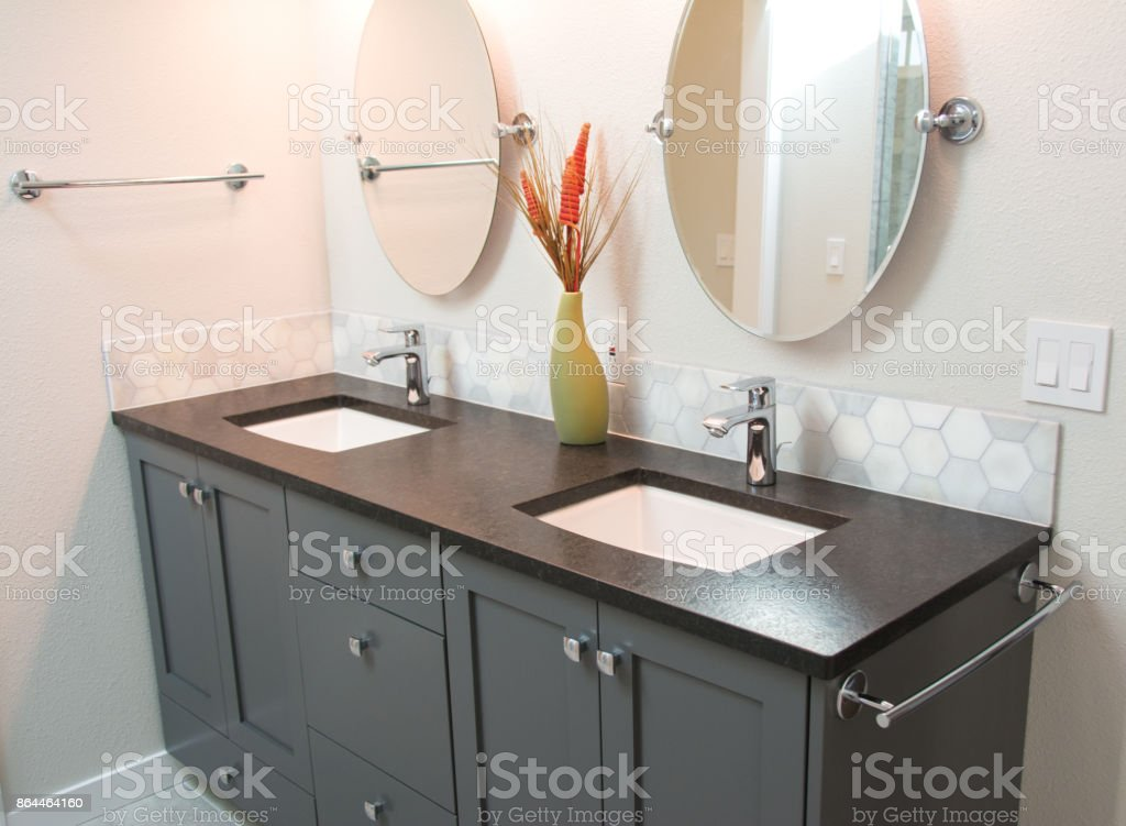Bathroom with Double Vanity stock photo