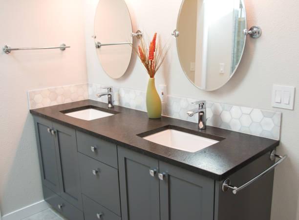 Bathroom with Double Vanity stock photo