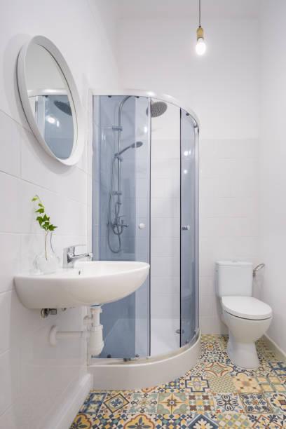 Bathroom with ethnic floor tiles stock photo
