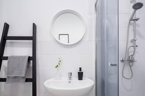 Bathroom with ladder shelf stock photo