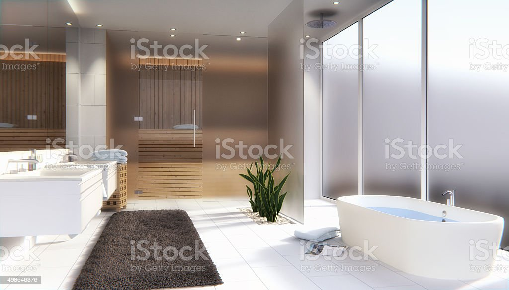 Bathroom with sauna stock photo