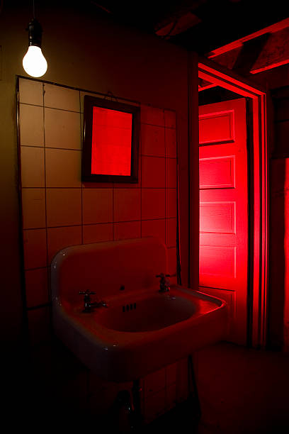 Bathroom with Scary Red Light, Nobody, Copy Space stock photo