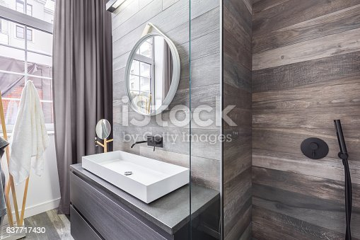 istock Bathroom with shower and basin 637717430