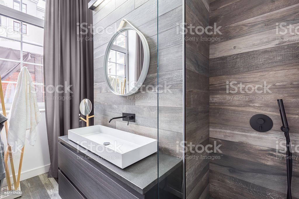 Bathroom with shower and basin stock photo