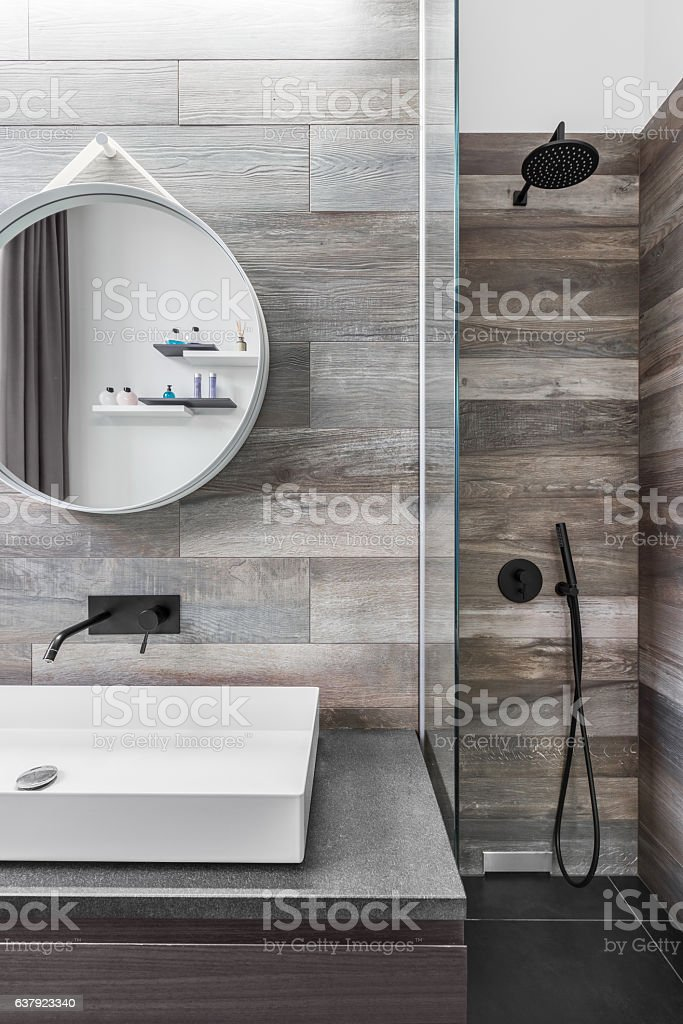 Bathroom with shower stock photo