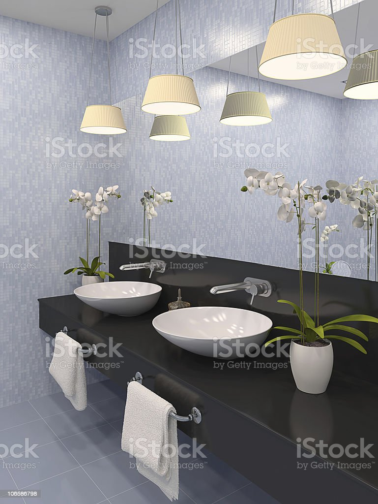 Bathroom with three overhead lighting fixtures royalty-free stock photo