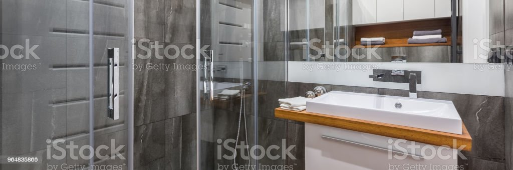 Bathroom with walk in shower royalty-free stock photo