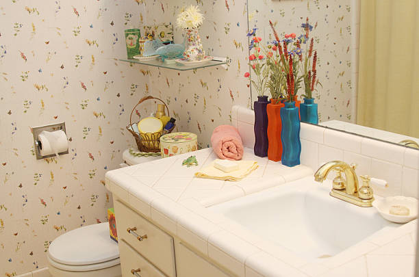 Bathroom with Wallpaper stock photo
