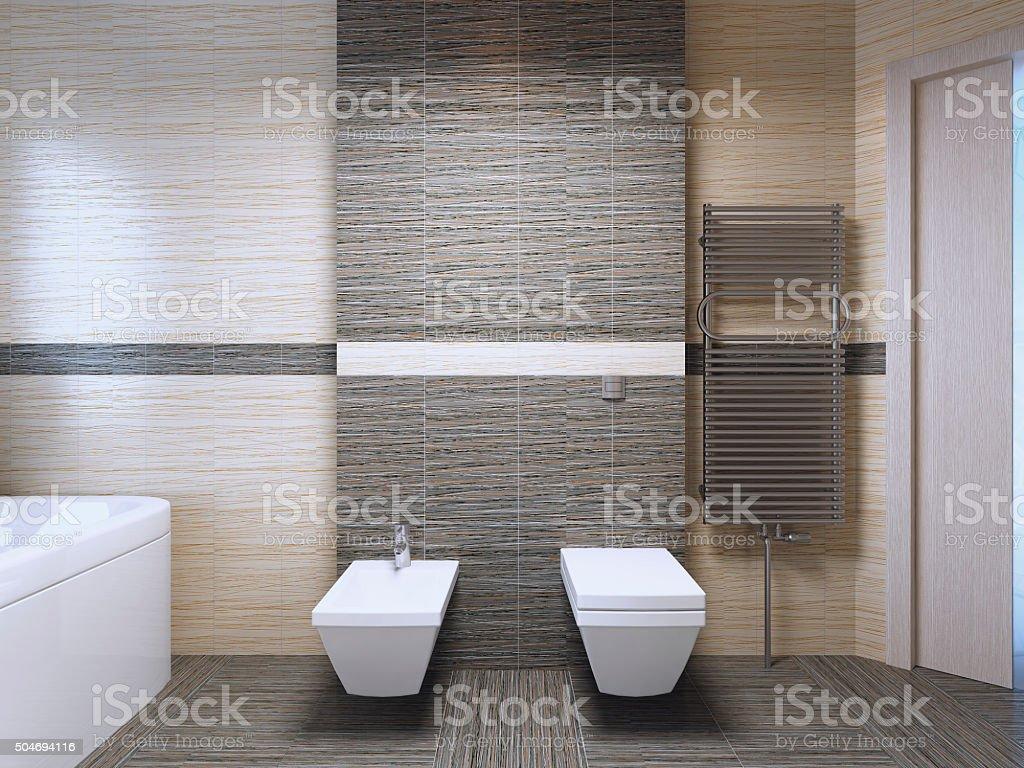 Bathroom with zebrano tile trend stock photo