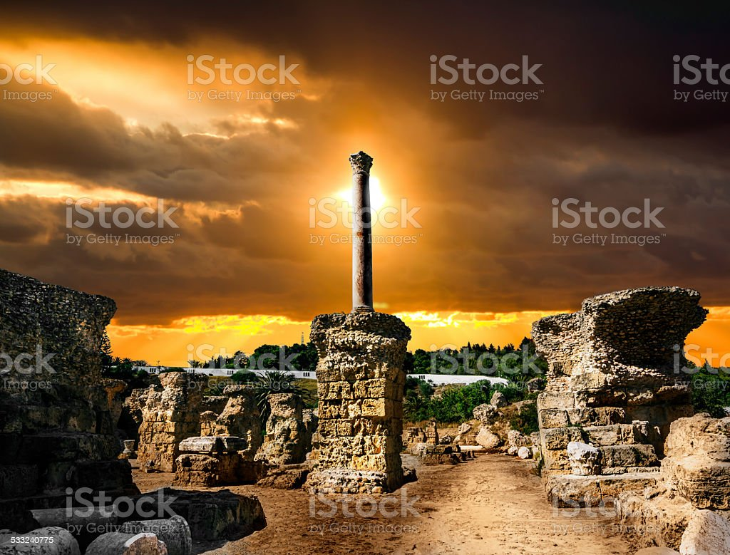 Baths of Antonius in Carthage Tunisia .sunset stock photo