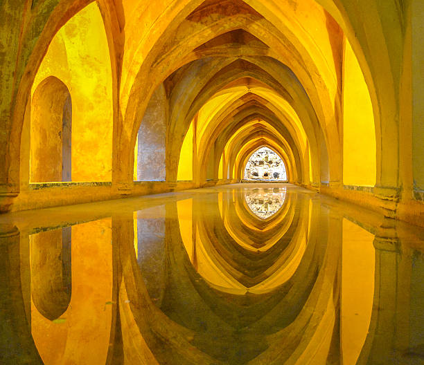 Baths of Dona Maria Padilla in the Royal Alcazars, Baths of Dona Maria Padilla in the Royal Alcazars, Sevilla, Spain. alcazar palace stock pictures, royalty-free photos & images