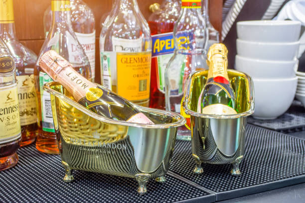 Baths with miniature bottles MOET in Bar, Russia, Moscow. January 13, 2018. Baths with miniature bottles MOET in Bar, Russia, Moscow. January 13 2018 moët & chandon stock pictures, royalty-free photos & images
