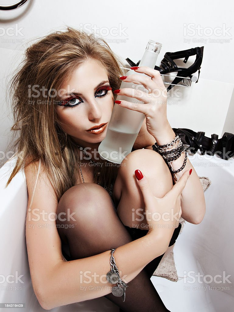 Bathtime with Alcohol stock photo