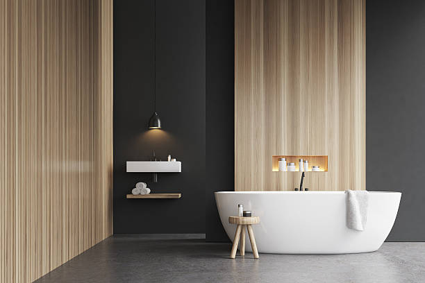 Bathtub, a sink and a chair - foto de stock