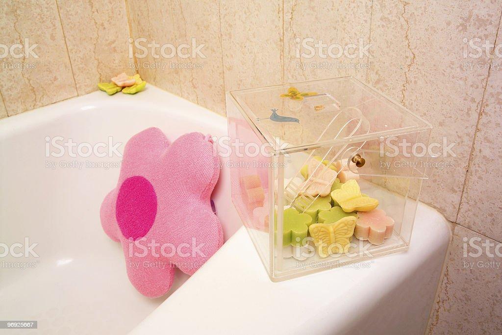 Bathtub and soaps royalty-free stock photo