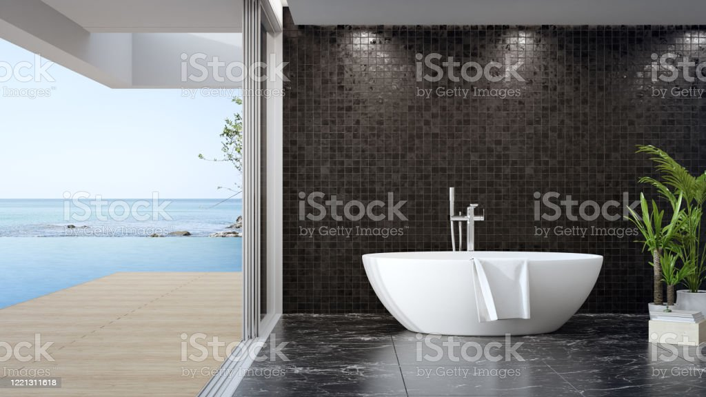 Bathtub On Black Marble Floor Of Large Bathroom In Modern House Or Luxury Pool Villa Stock Photo Download Image Now Istock