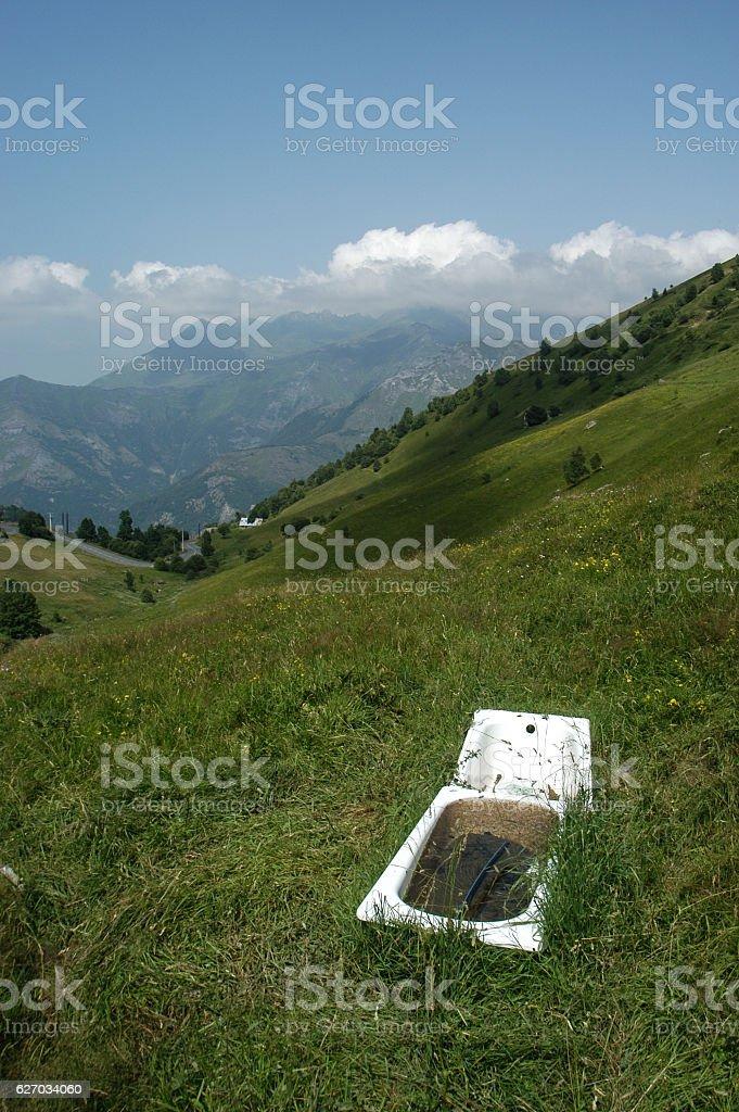 Bathtub on the Pyrenees stock photo