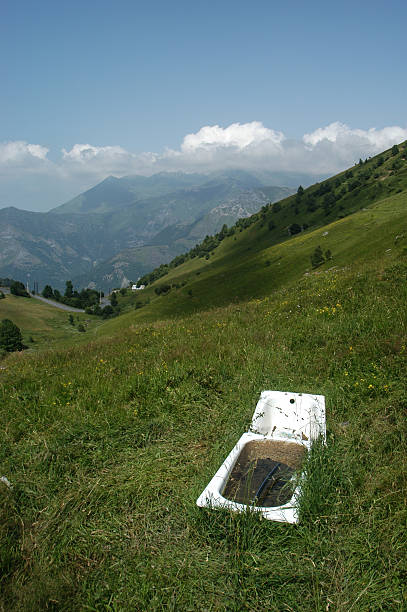 Bathtub on the Pyrenees stock photo