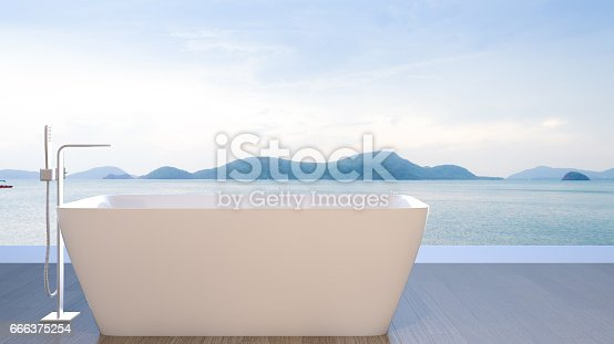 istock Bathtub with view of sea , 3d rendering 666375254