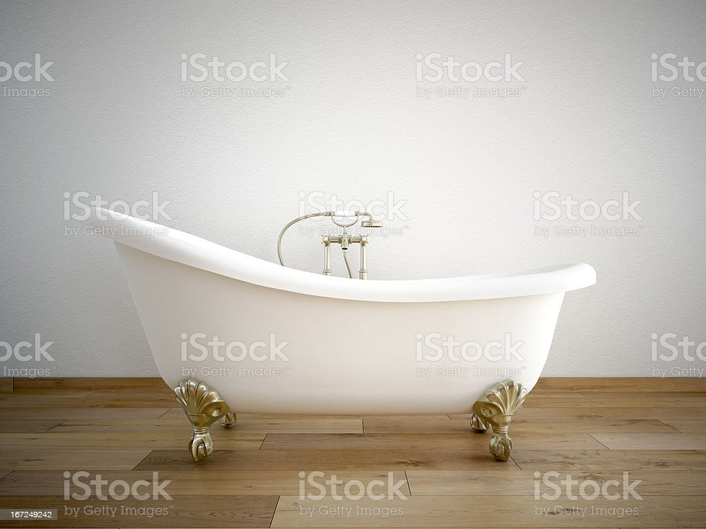 bathtube with white wall royalty-free stock photo