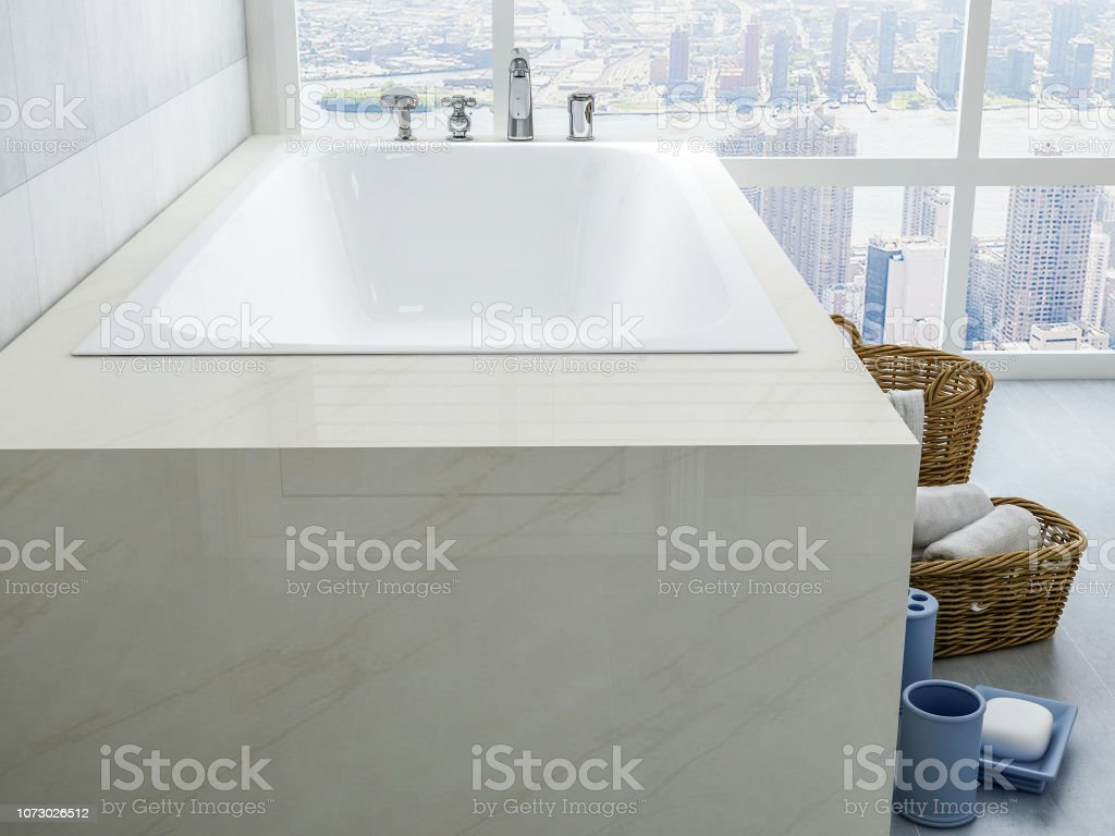 Picture of: Bathtubs And Toiletries In Spacious Bathrooms In Modern Apartments Stock Photo Download Image Now Istock