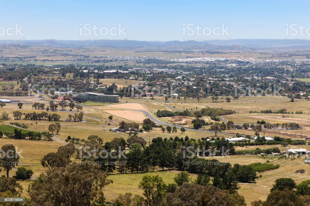 Bathurst - New South Wales Australia view of city from Mount Panorama. stock photo