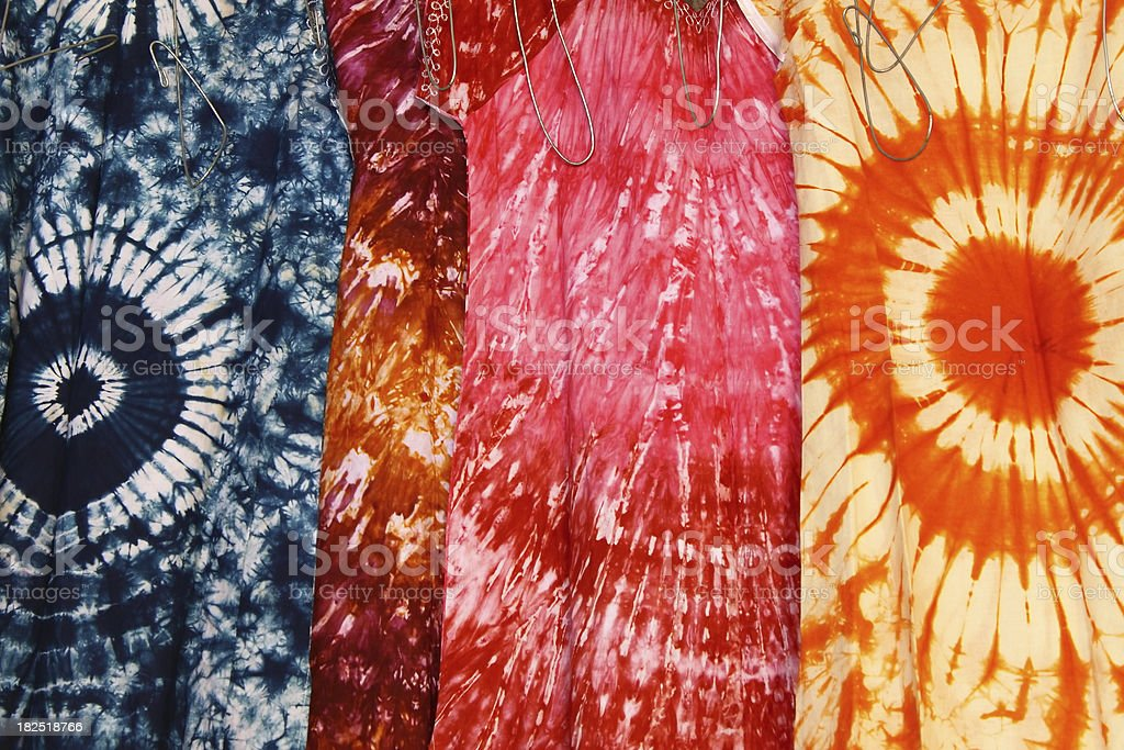 Batic painted dresses stock photo