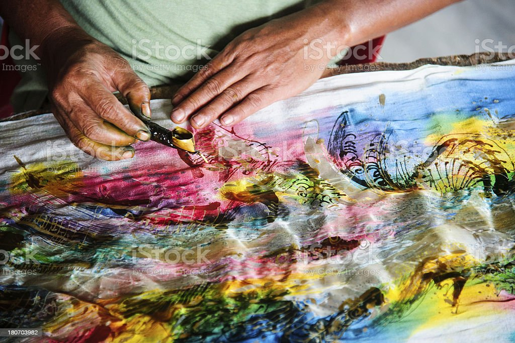 Batik Making with wax stock photo