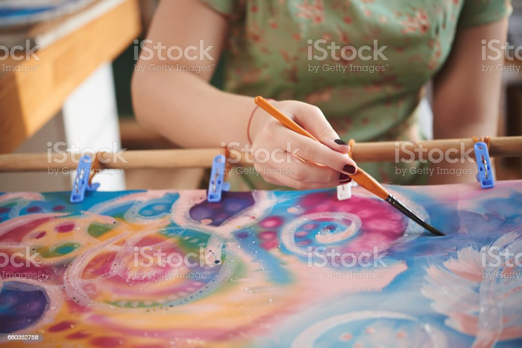 Batik process stock photo