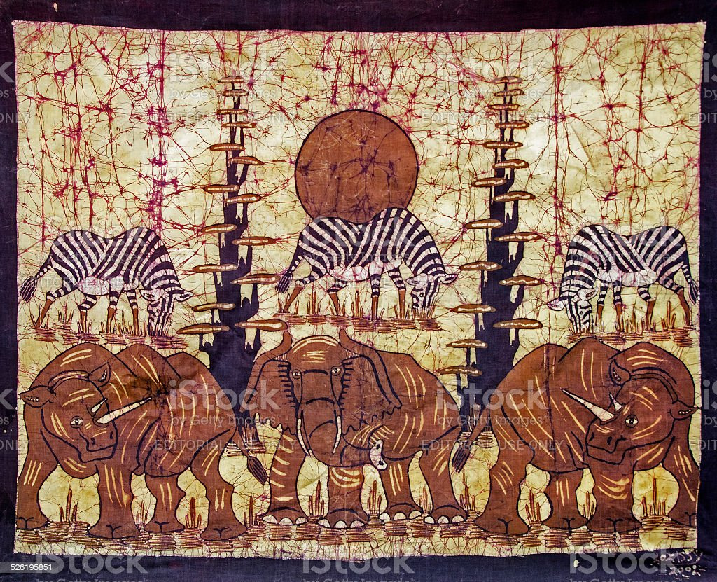 batik with elephants and zebras from Mozambique stock photo