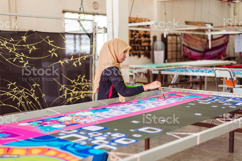 Batik workshop stock photo