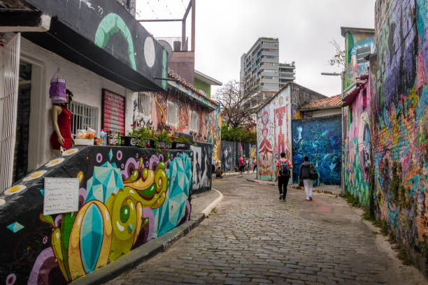 Beco do Batman (Batman Alley) in Vila Madalena - Sao Paulo, Brazil stock photo