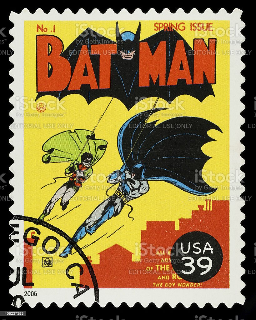 Batman and Robin Superhero Postage Stamp stock photo