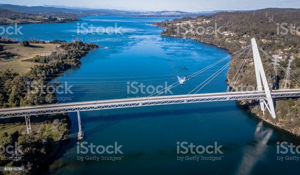 Batman Bridge by the Tamar river near Sidmouth. stock photo