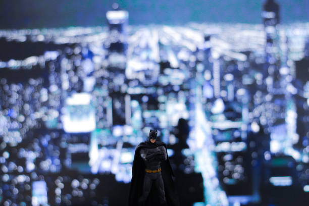 Batman toy bokeh background stock photo
