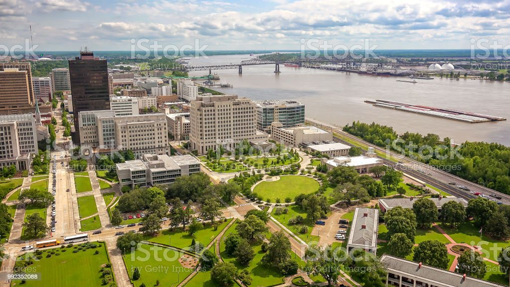 Baton Rouge City Skyline and Mississippi River in Louisiana stock photo