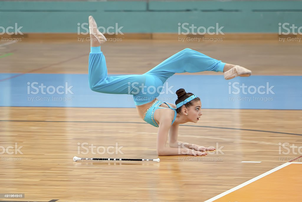 Baton twirling atleta - foto de stock