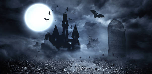 Bats flying to draculas castle stock photo