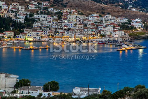 Dusk view of Batsi, a traditional village at the island of Andros,  Cyclades, Greece