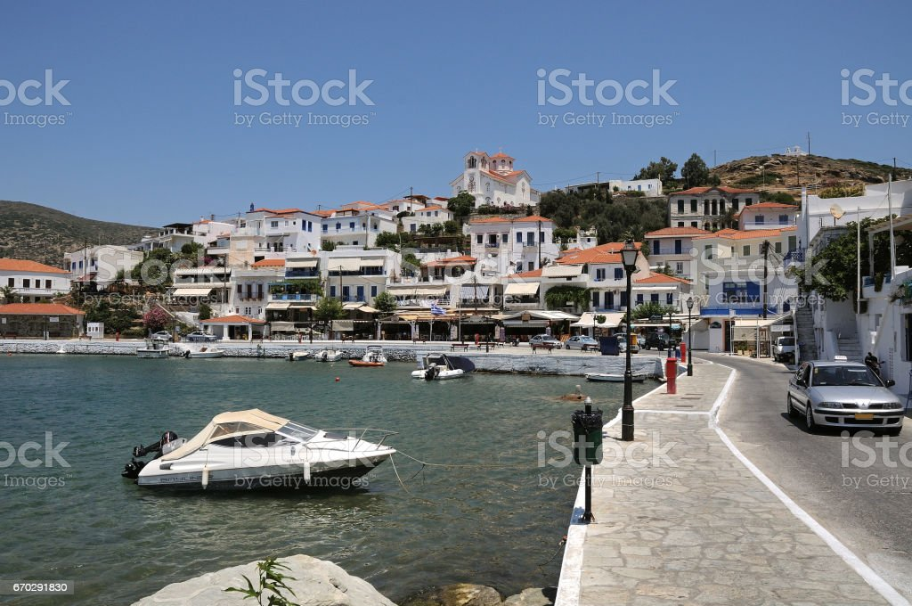 Batsi, Andros island.Cyclades Greece. stock photo